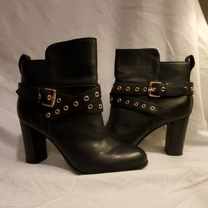 BARELY WORN- Black Leather Booties w Gold Buckle